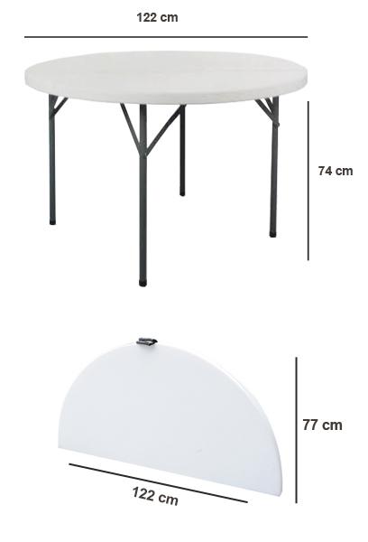 Tavolo rotondo pieghevole da festa 122 cm - Tavolo pieghevole con maniglia ...