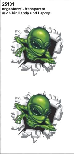 Alien uit kogelgat sticker 60x60