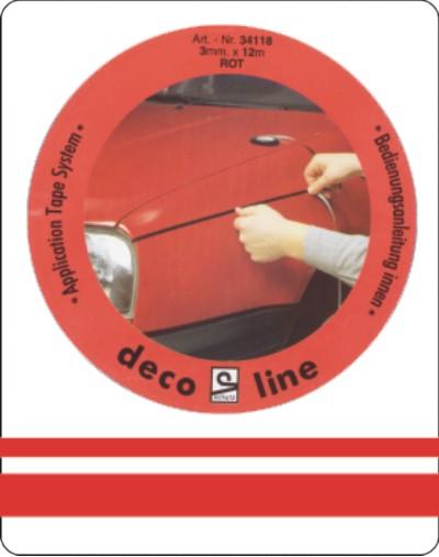 Dubbele streep rood 12,5mm sticker