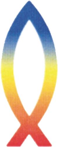 Vis gekleurd sticker