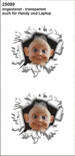Baby uit kogelgat sticker 60x60
