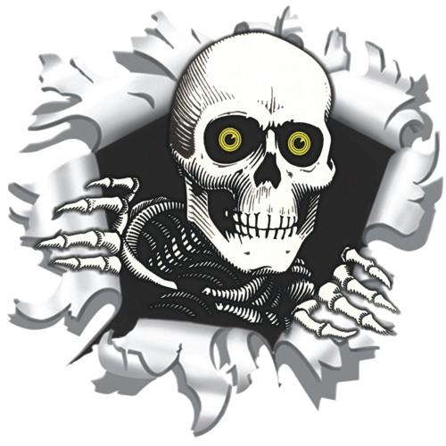 Skelet in schotgat sticker 9x9