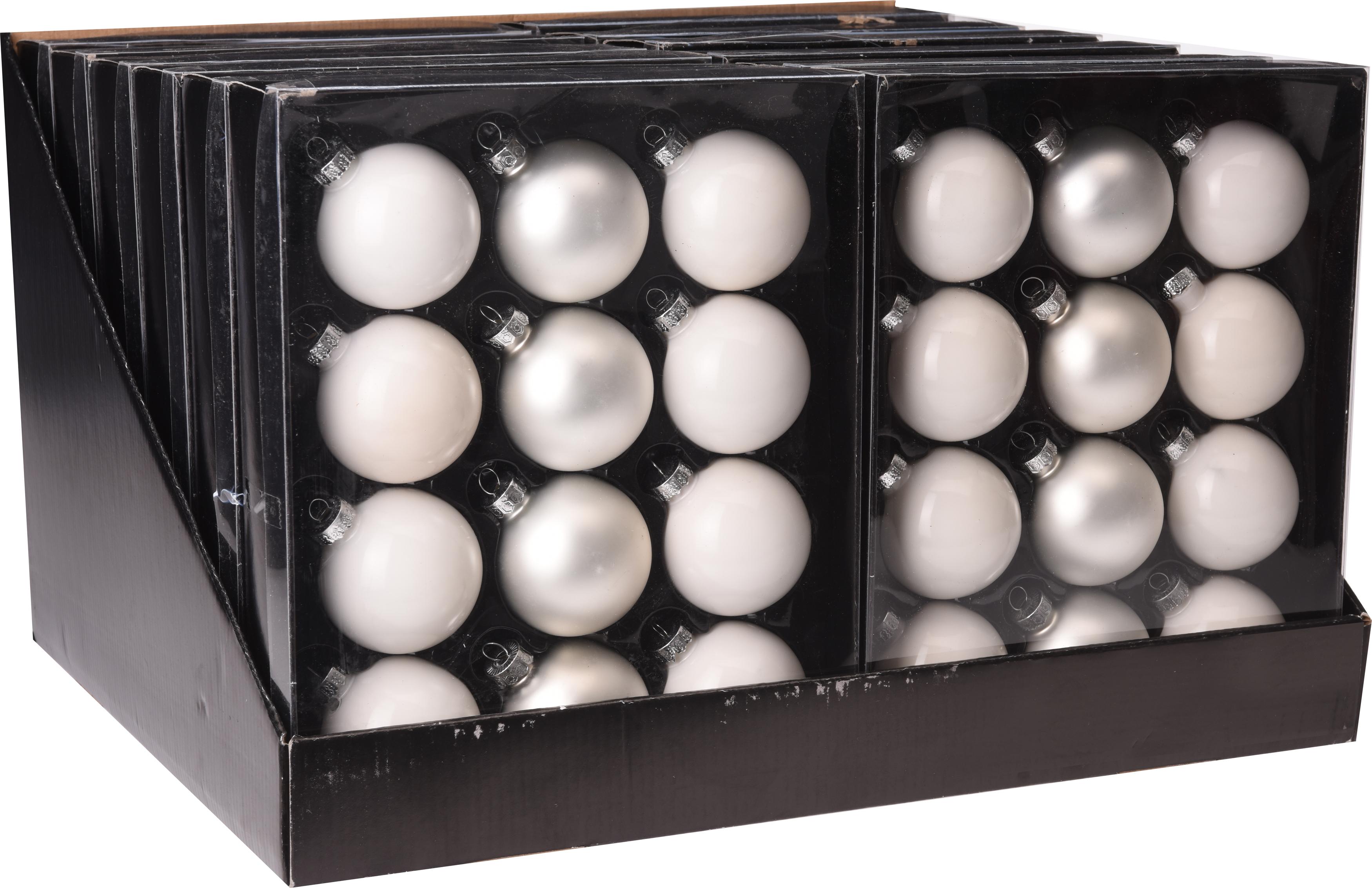 Kerstbal 12X57MM wit