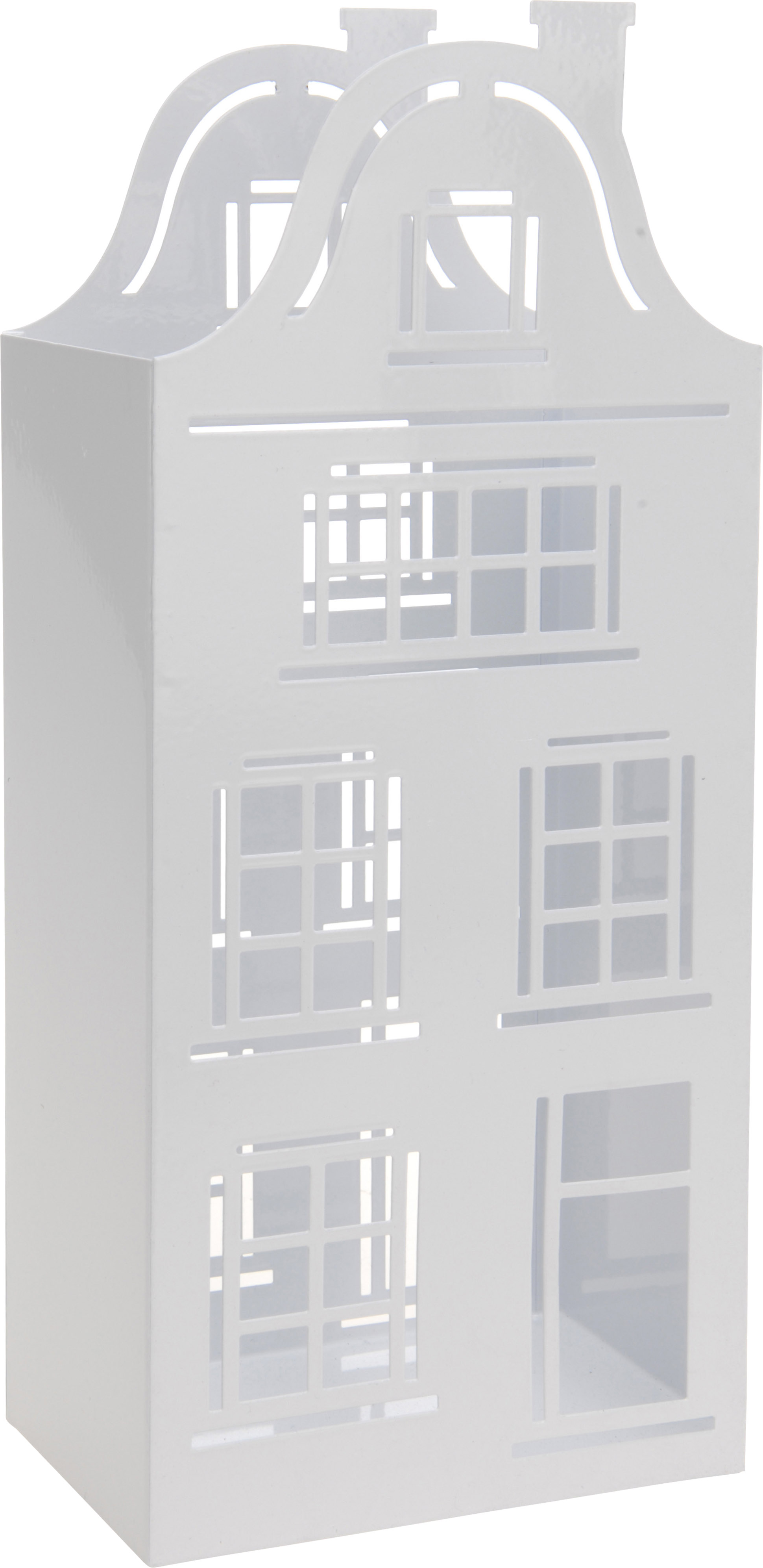 Theelichthouder huis 13x32cm wit