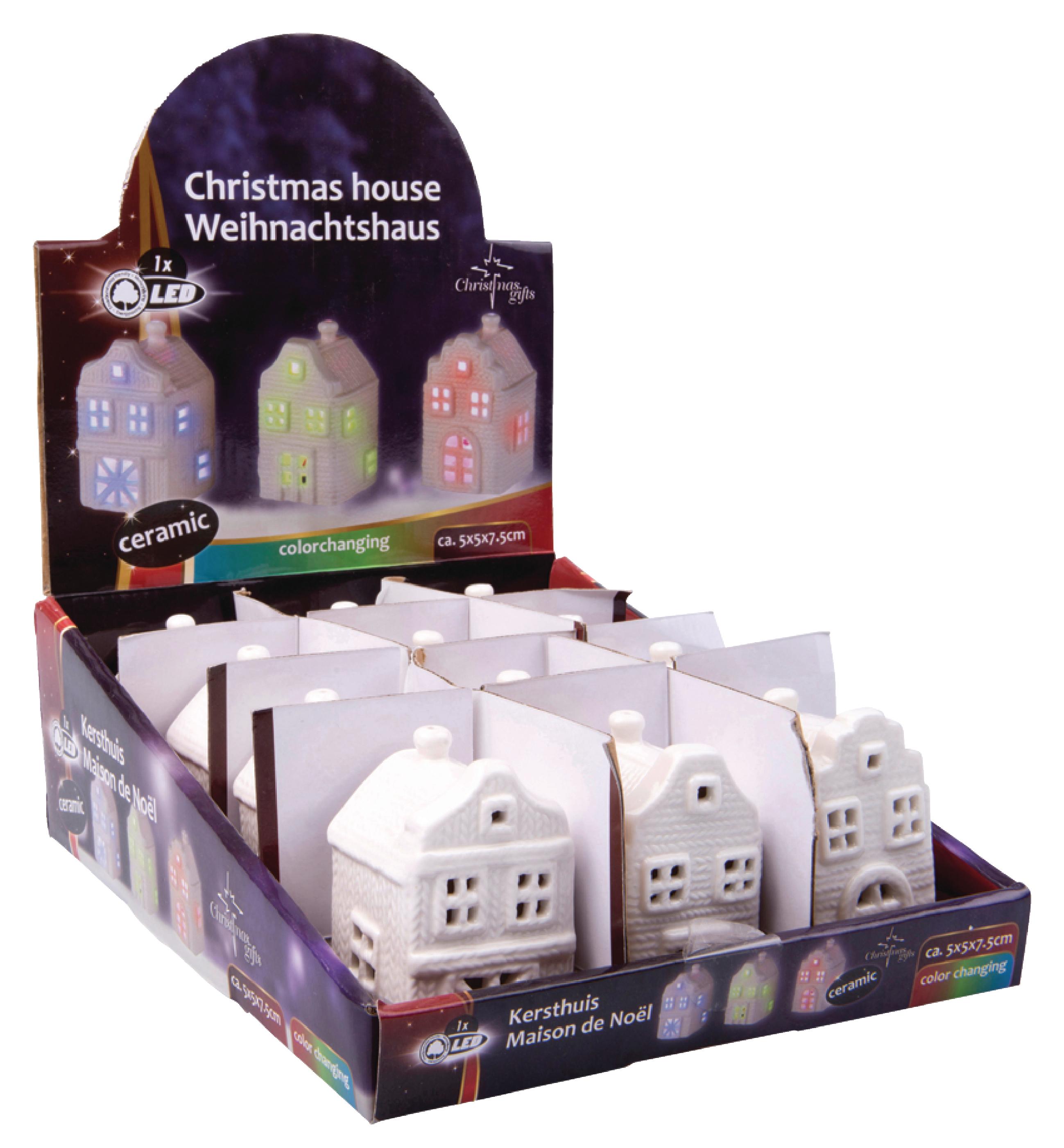 Kersthuis 1LED 3 soorten