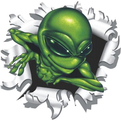 Alien-uit-kogelgat-sticker-9x9