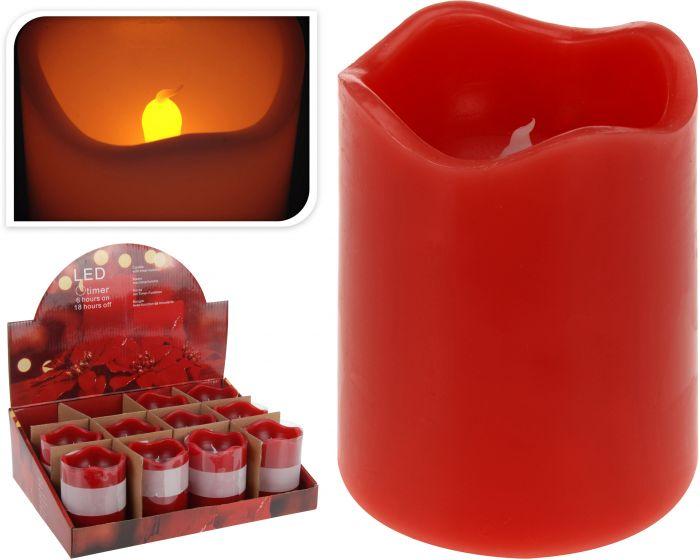 Kaars-led-timer-7x9-cm-rood