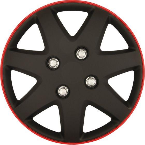 Michigan-Mat-zwart/rood-Rim---16-inch-wieldoppen