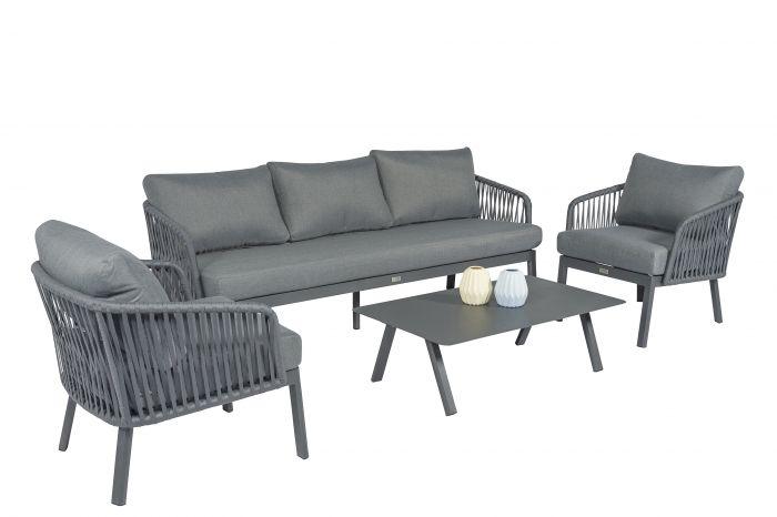 2 Loungestoelen Met Tafeltje.Harp Loungeset Aluminium Pure Garden Living