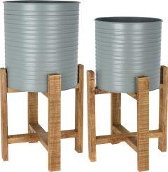 Plantenbak-set-2-stuks-staal-met-houten-onderstel-olijfgroen