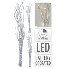 Kerst-Takkenbos-zilver-12-LED---40-cm