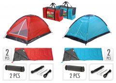 2-Persoons-Campingset-inclusief-tent,-2-slaapzakken,-2-slaapmatjes-+-draagtas
