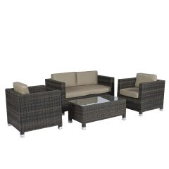 "Zithoek-""Bari""-Loungeset-wicker---Bruin---Pure-Garden-&-Living"