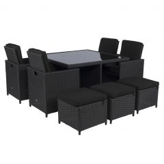 "Dining-loungeset-""Cube""-wicker-zwart---Pure-Garden-&-Living"