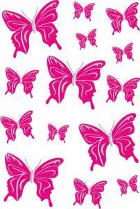 Vlinder-roze/zilver-sticker