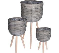 Bloempot staand set van 3stuks grijs