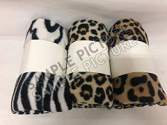 Deken fleece 130x160 cm wild animal design 3ass