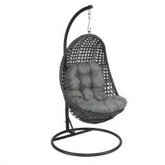 """Hangstoel """"Moon"""" wicker - Elegant donkergrijs - Pure Garden & Living"""