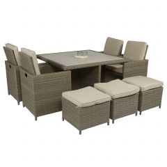 """""""Cube""""-Dining-loungeset---wicker-nature---Pure-Garden-&-Living"""