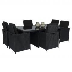 """Dining loungeset """"Cube XL"""" 6 personen wicker zwart - Pure Garden & Living"""