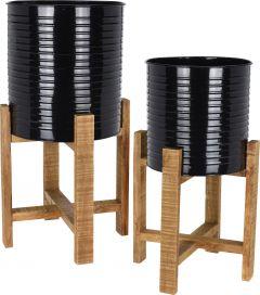 Plantenbak set 2 stuks staal met houten onderstel mat zwart