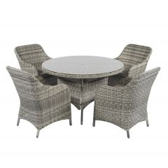 """Miami""-Dining-loungeset-wicker-naturel---Cappucino-Beige---Pure-Garden-&-Living"