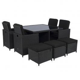 Dining loungeset cube wicker zwart for Tweedehands tuinmeubelen