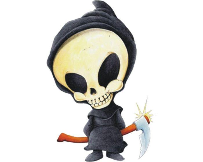 Skelet met zeis sticker 11,5x10