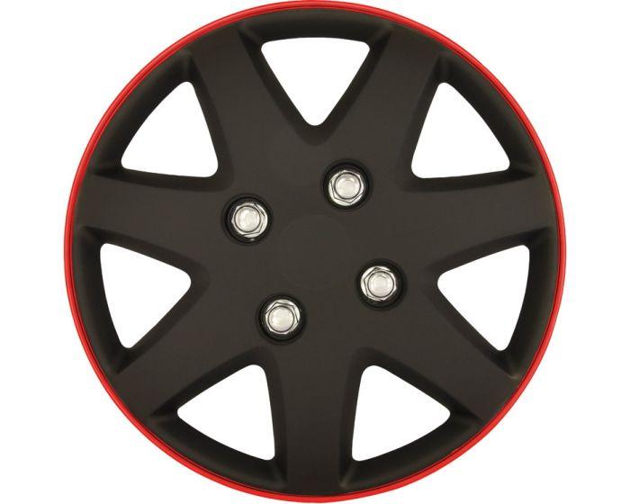 Michigan Mat zwart/rood Rim - 16 inch wieldoppen