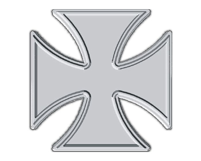 Chrome ijzer kruis sticker