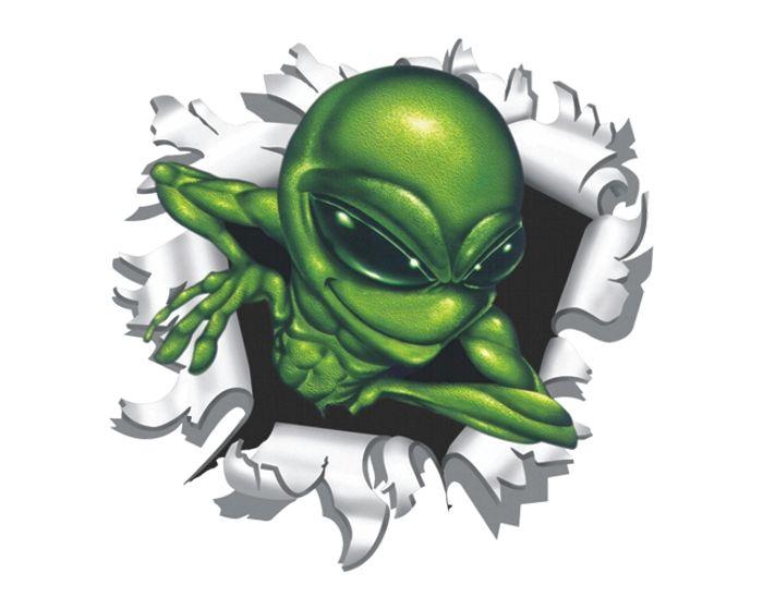 Alien uit kogelgat sticker 9x9