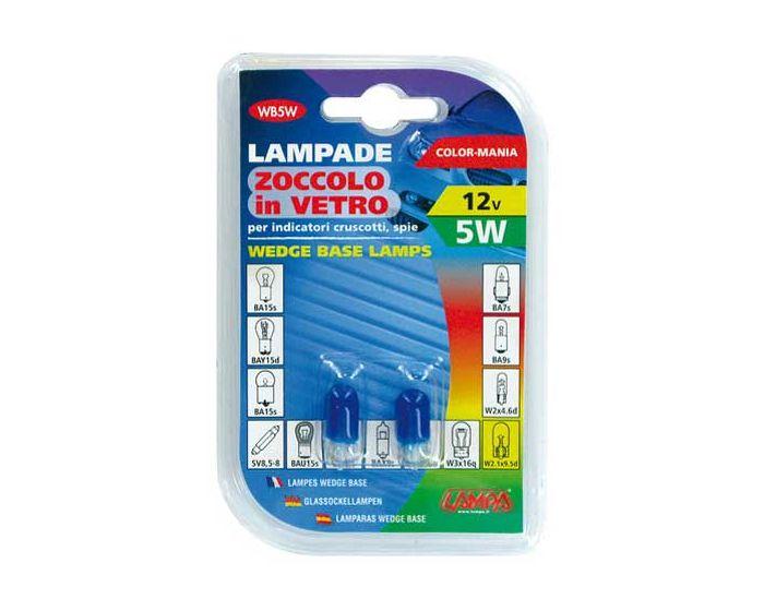 Verlichting T10 lamp 12V 5W blauw