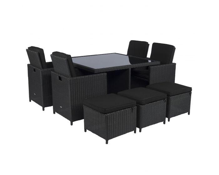 Cube dining loungeset wicker zwart Pure Garden & Living