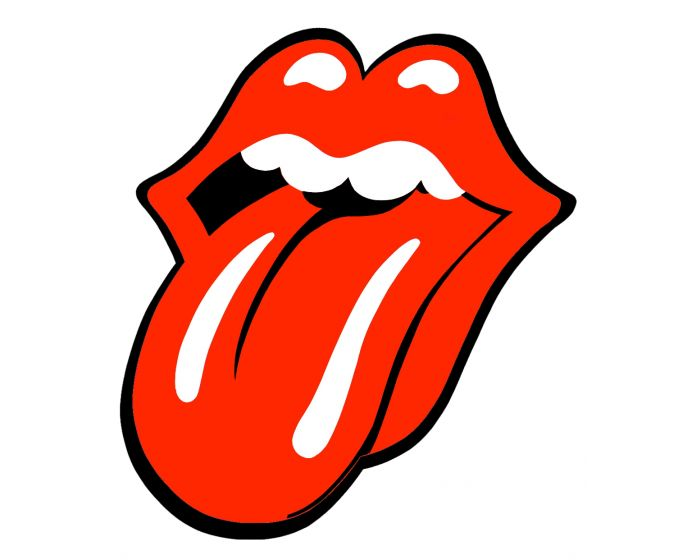 Rolling Stones sticker rood/wit 10cm