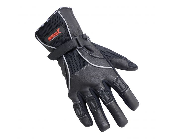 Motorhandschoenen Leder L zwart