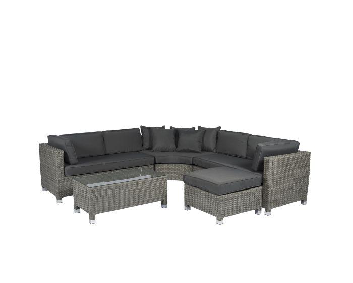 Pure Garden & Living loungeset hoekbank rond wicker grijs