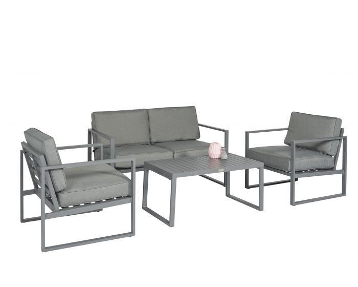 Loungeset Zithoek Aluminium Grijs - Pure Garden & Living