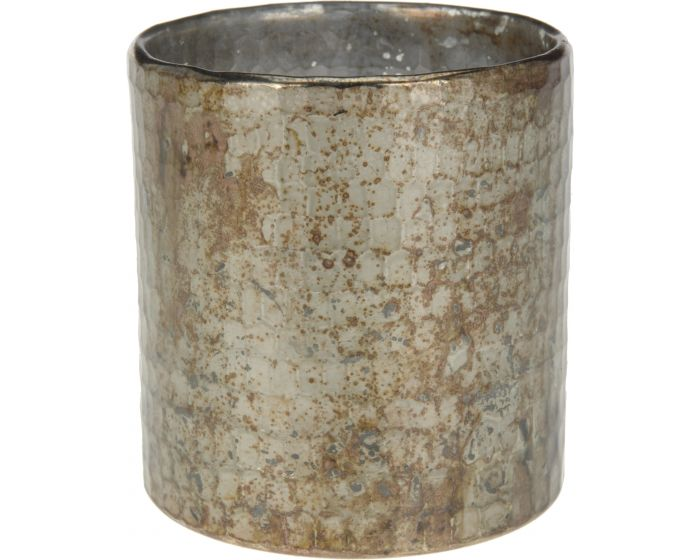 Theelichthouder 10x11 cm grijs