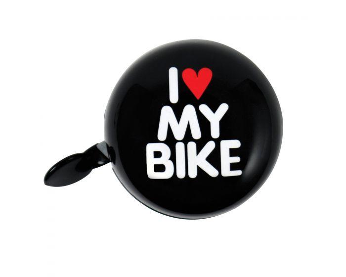 Fietsbel dingdong 'I love my bike' Zwart 60mm
