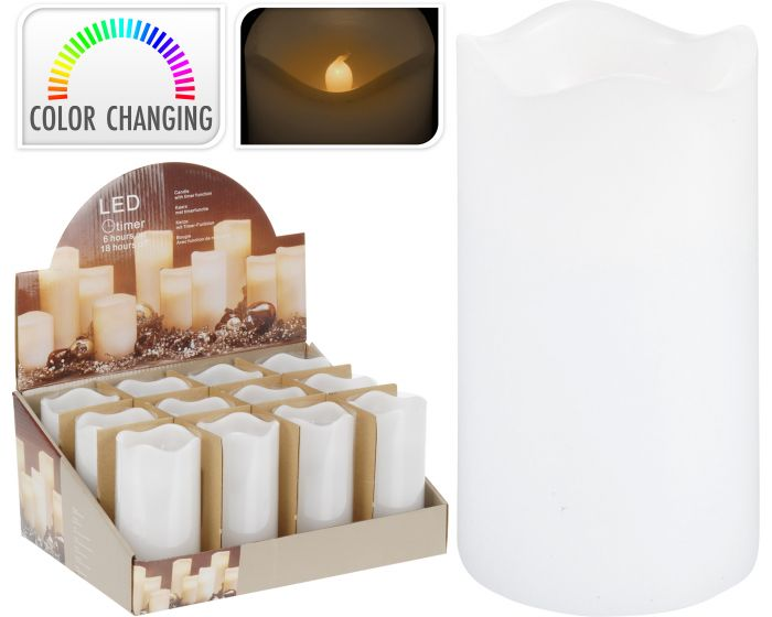 Kaars led timer 7x13 cm multicolor