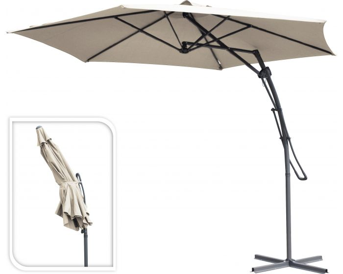 Hangparasol push up Ø300cm taupe