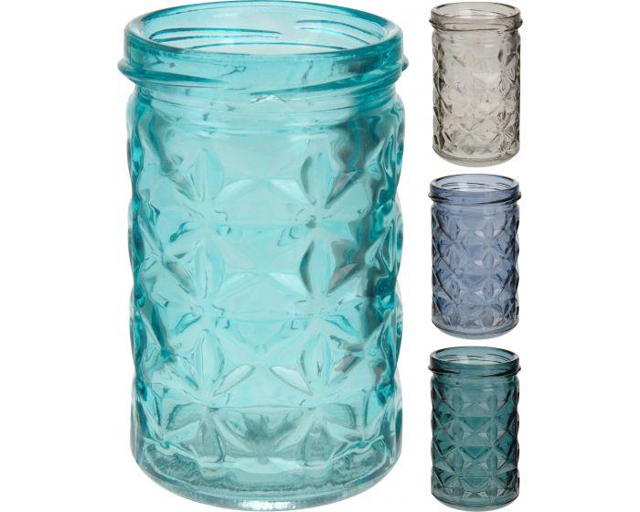 Theelichthouder glas 6x10cm