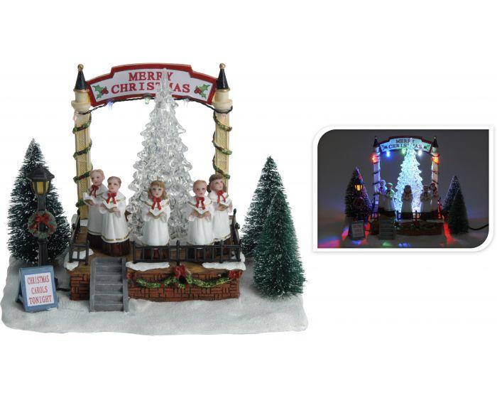 Kersttafereel koor met verlichting
