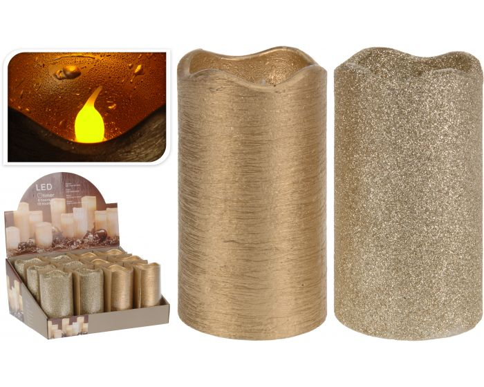 Kaars led timer 7x13 cm goud