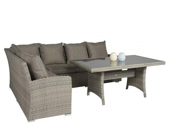 Dining Loungeset Wicker Beige/Grijs - Pure Garden & Living