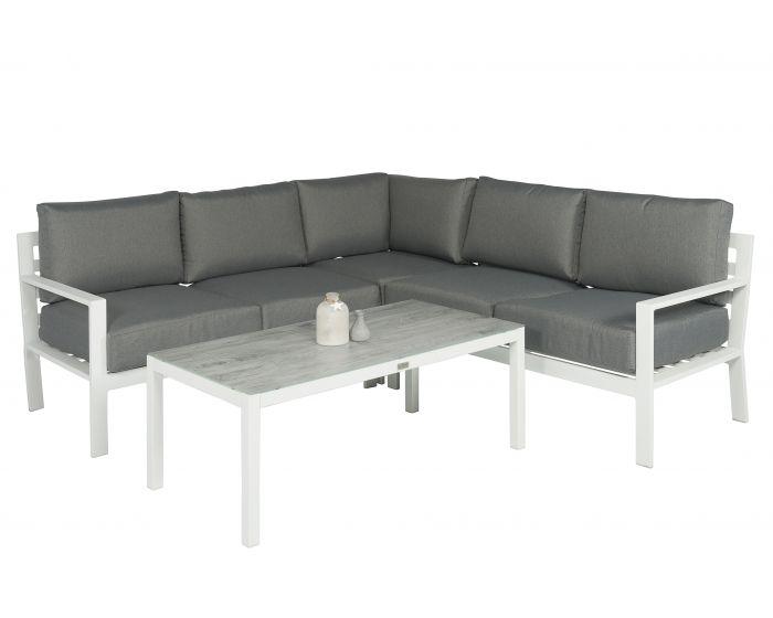 Loungeset Hoekbank Aluminium Wit/Grijs - Pure Garden & Living