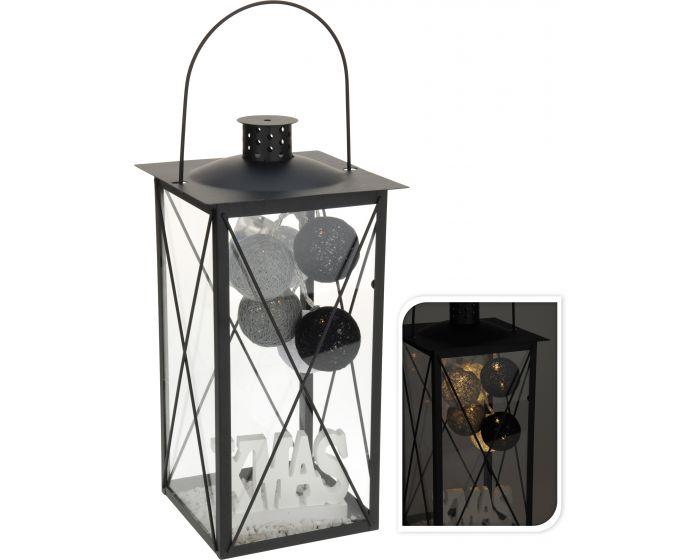Lantaarn met LED en deco zwart
