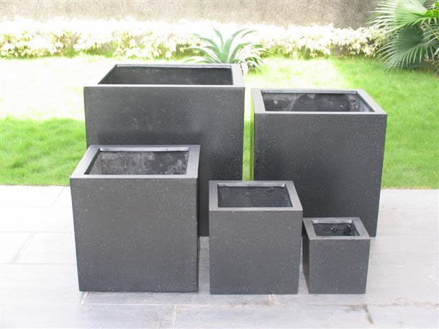 Bloempot Met Licht : Terrazzo kubus zwart 60x60x60