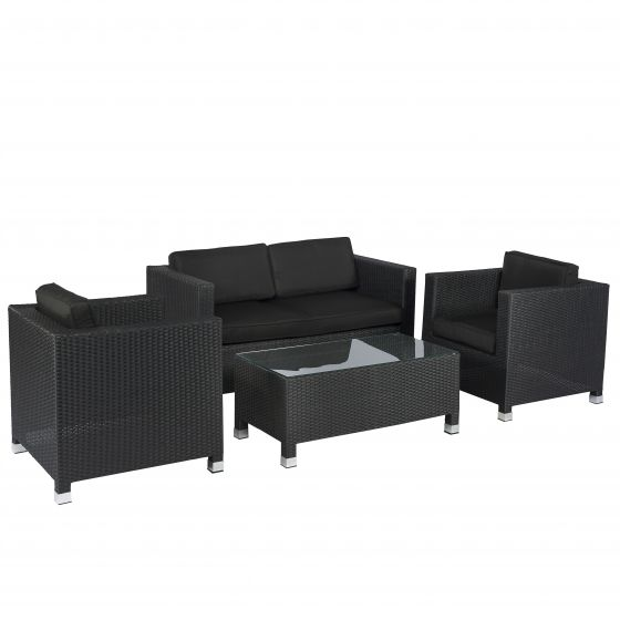 Luxe Loungeset Zwart.Zithoek Bari Loungeset Wicker Zwart Pure Garden Living
