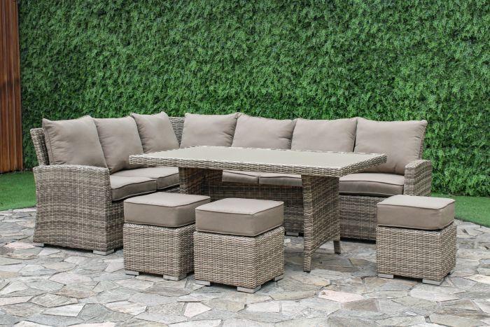 Green Garden Tuinset.Hoekbank Loungeset Wicker Monaco Cappucino Beige Pure Garden